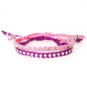 LittleMissMatched Pink & Purple Rhinestone Rope Bracelet Set