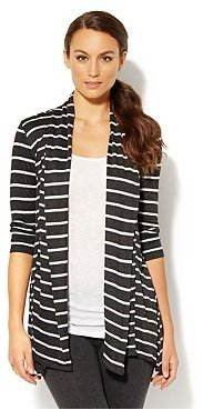 New York & Co. Love NY&C Collection - Flyaway Striped Cardigan with Asymmetrical Hem