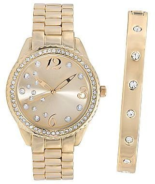 JCPenney 2-Pc. Crystal-Accent Boyfriend Watch & Bangle Set