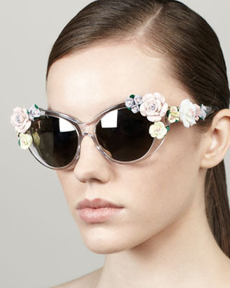 Dolce & Gabbana Roses Cat-Eye Sunglasses, Crystal