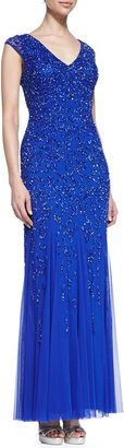 Aidan Mattox Silk with Sequined Design Gown