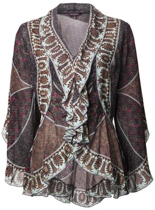 Marchesa Voyage rhodes petal ruffle blouse