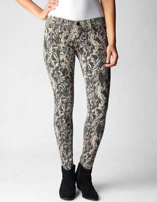 True Religion Casey Super Skinny Feathered Print Womens Jean