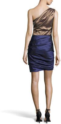 Halston Ruched One-Shoulder Two-Tone Dress, Bronze/Midnight