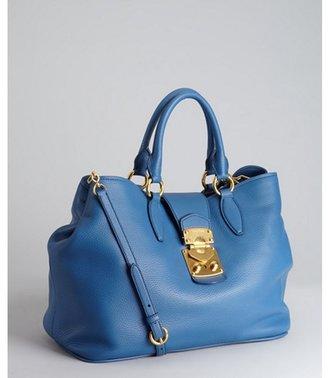 Miu Miu Miu cobalt pebbled leather convertible satchel