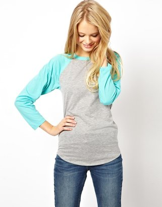 Asos Colour Block Baseball Top - Blue