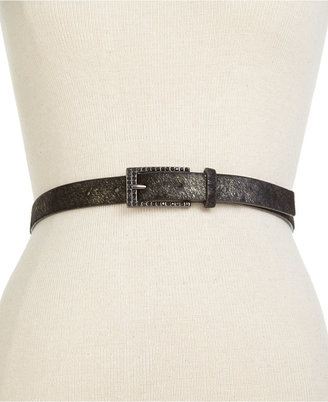 Nine West Metallic Haircalf Skinny Belt