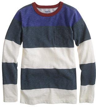 J.Crew Boys' long-sleeve ringer pocket tee in colorblock stripe