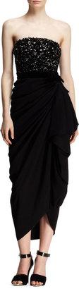 Lanvin Strapless Beaded-Bodice Drape Dress