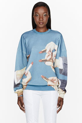 MSGM Blue Lipstick Toilet Paper Edition graphic sweatshirt