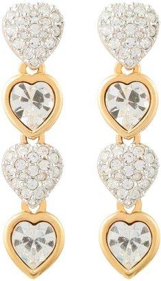 Susan Caplan Vintage 1980s Vintage Swarovski Heart Earrings