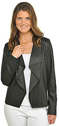 TanJay Draped Collar Faux-Leather Jacket