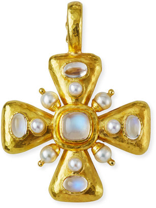 Elizabeth Locke Moonstone & Pearl Maltese Cross Pendant