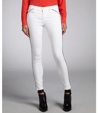 J Brand white stretch denim with piping skinny jeans