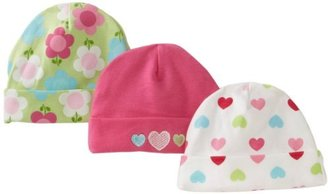 Gerber Baby-Girls Newborn 3 Pack Hearts Cap