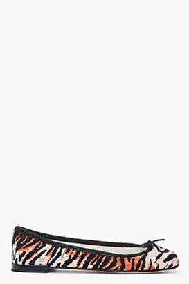 Repetto Black and orange leather Tiger Print cinderella flats