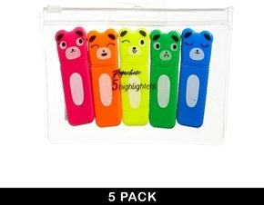 Paperchase 5 Pack Bear Highlighter Pens - Multi