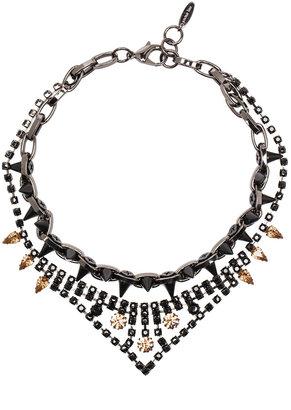 JOOMI LIM Velvet Underground Necklace in Hematite & Matte Black & Jet Crystals
