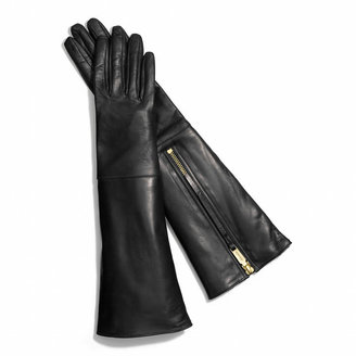 Coach Leather Glove With Rabbit Interior