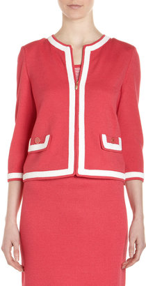 St. John Jewel-Neck Contrast-Trim Sweater, Lipstick Pink/White