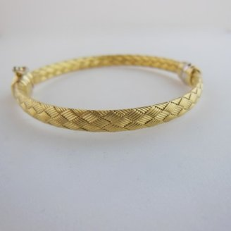 Roberto Coin excellent (EX 18K Yellow Gold .24tcw 5mm Pave Diamond Station Woven Silk Bracelet