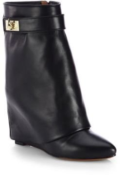 Givenchy Leather Mid-Calf Wedge Sheath Boots