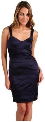 Vera Wang Stretch Satin Banded Dress (Navy) - Apparel