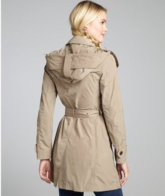 Burberry Sisal Hooded Double Breasted Belted Trench Coat