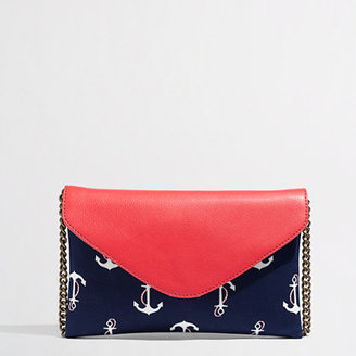 J.Crew Factory Factory envelope clutch in printed anchor