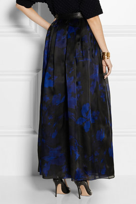 Milly Leather-trimmed printed silk-organza maxi skirt