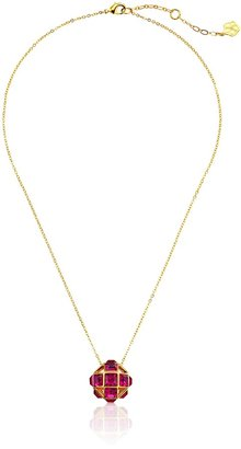 "Trina Turk Discreet Opulence"" Gold-Plated Fuchsia Small Geo Ball Pendant Necklace 18"" + 3"" Extender"
