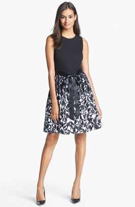 Aidan Mattox Mixed Media Fit & Flare Dress