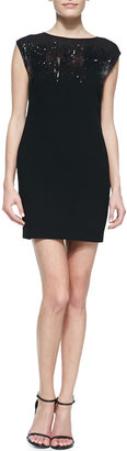 Halston Sequin-Top Fitted Jersey Dress
