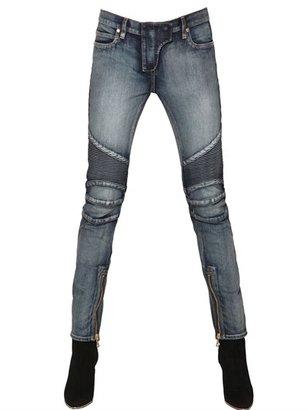 Balmain Quilted Stretch Denim Biker Jeans