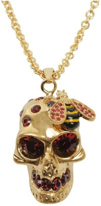 Alexander McQueen Gold/Red Crystal Bee and Skull Cocktail Pendant