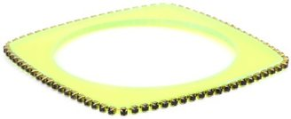 "Sandy Hyun ""Deco Lucite"" Neon Green Lucite Crystal Edge with Skinny Bangle Bracelet"