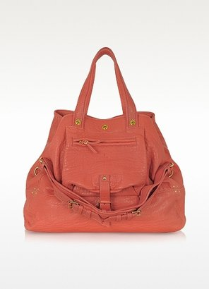 Jerome Dreyfuss Billy Large Coral Pink Leather Tote