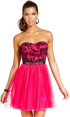 Ruby Rox Juniors Dress, Strapless Lace Belted Tulle