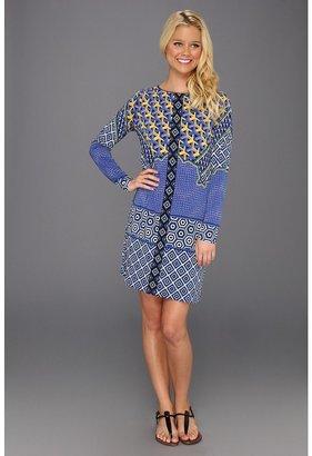 Hale Bob Long Sleeve Boatneck Dress (Blue) - Apparel
