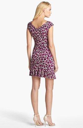 Betsey Johnson Animal Print Ruffled Sheath Dress