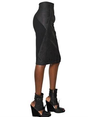 Gareth Pugh Matte Nappa Leather & Lyocell Skirt