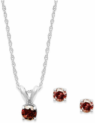 Macy's 10k White Gold Red Diamond Necklace and Earring Set (1/5 ct. t.w.)
