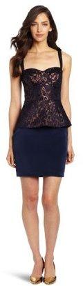 Nicole Miller Women's Textured Lurex Jacquard Peplum Dress