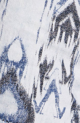 Fire Split Print High Waist Denim Shorts (Juniors) Medium Acid Wash 13