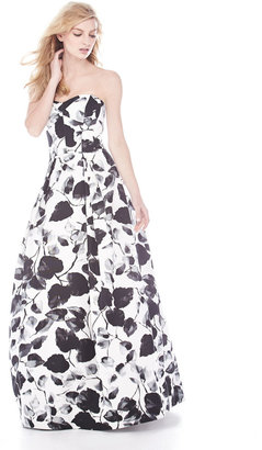 Milly Ava Floral-Print Strapless Gown