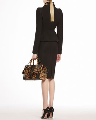 Gucci Wool Jacket with Jaguar Print Collar
