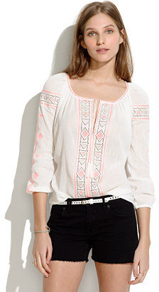 Madewell Embroidered Peasant Top