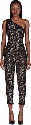 Stella McCartney Black One Shouler Lace Overlay Jumpsuit