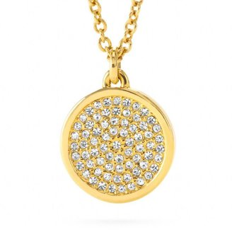 Coach Small Pave Disc Pendant Necklace