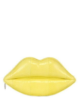 Lulu Guinness Padded Snakeskin Lips Clutch